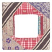 patchwork quilt with white center square