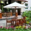 wood patio umbrella table and chairs