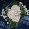crochet carnations in vase with silk flowers