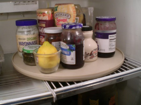 Lazy Susan in a refrigerator.