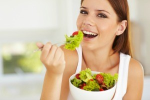 Woman Having Salad for Lunch