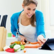 Woman Using Shared Online Recipe