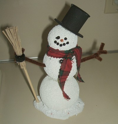 Finished Styrofoam Snowman