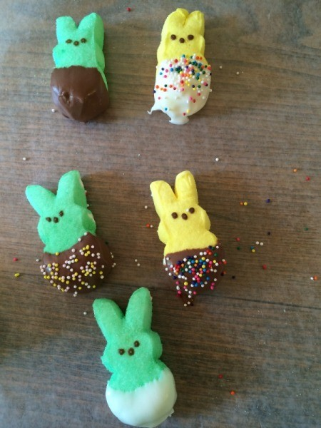 bunnies with chocolate and white chocolate and sprinkles