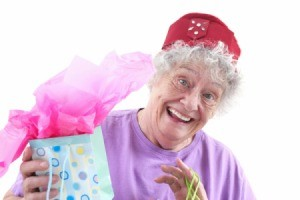 Woman with Gag Gift for Family Reunion