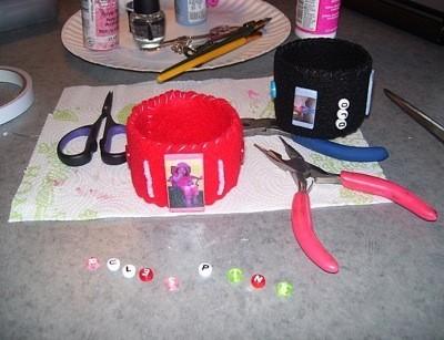Recycled Soda Bottle Photo Bracelets - Decorating the bracelets.
