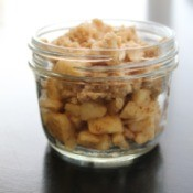 Apple crisp made in a canning jar.
