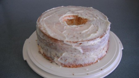 Gluten Free Strawberry Delight - Frosting the cake.