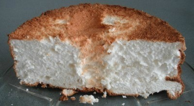 A half loaf of angle food cake
