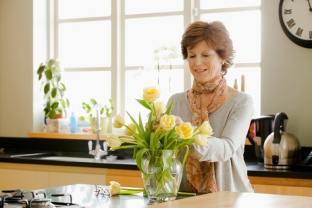 Woman Making a Floral Arrangement