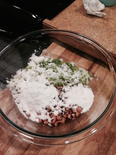 flour added to pea, onion, and pepper mix