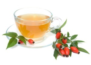 rose hip tea in a glass cup