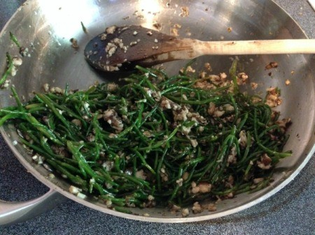 Sea Beans and Mushrooms in the pan