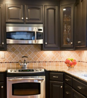 painted kitchen cabinets with black appliances removing white steam marks on wood cabinets thriftyfun 9052