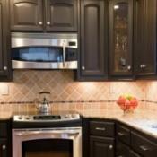 kitchen range and cabinets