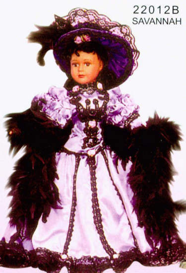 fancy dress doll in purple outfit with feather boa