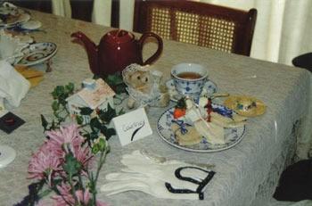 closeup of tea table arrangement
