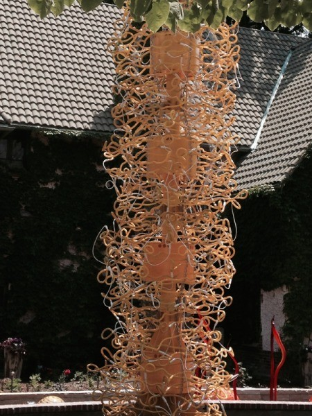 amber twisty squiggly glass column