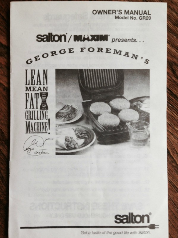 Manual For George Foreman Grill Thriftyfun