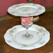 vintage plates glued together to make a tiered serving dish