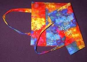 colorful fabric book cover with handles