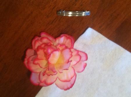 Homemade Flower Barrette - flower and barrette.