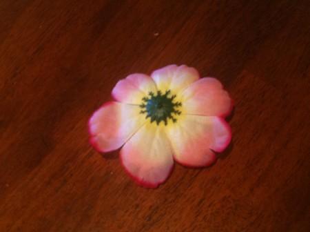 Homemade Flower Barrette - artificial flower