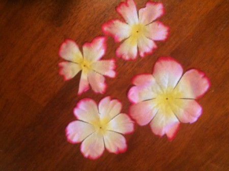 Homemade Flower Barrette - several artificial flowers.