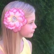 Homemade Flower Barrette - finisher flower.