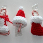 crochet ice skate, Santa hat, and stocking