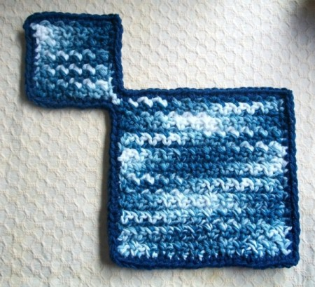 finished cup and saucer mat crochet with blue and white ombre yarn