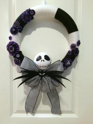 Nightmare Before Christmas Yarn Wreath