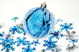ice blue ornament and snowflake decorations