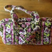 green and purple Vera Bradley purse