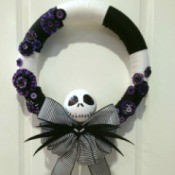 Nightmare Before Christmas Yarn Wreath
