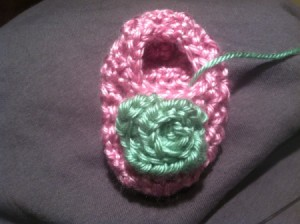 Finished rosebud on bootie.