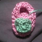 Finished rosebud on bootie.