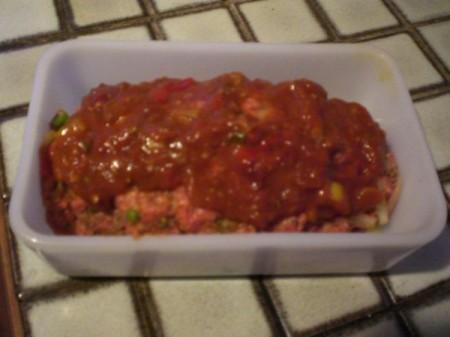 sauce spread on top