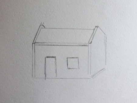 outline sketch of cottage