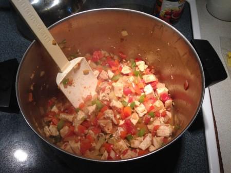 Chicken Tortilla Soup - stir to mix