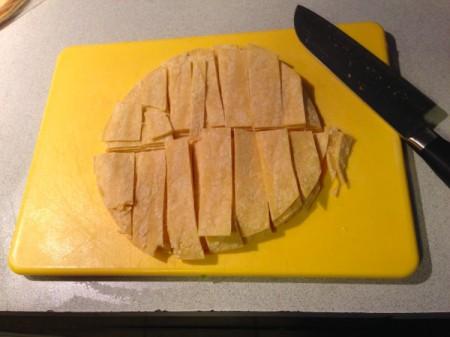 Chicken Tortilla Soup - cutting up tortillas