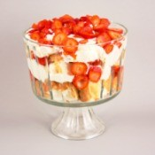 cake, strawberry, and cream trifle