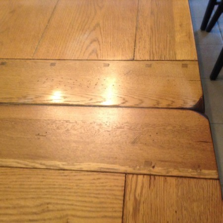 iron marks on table