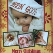 A baby in a santa hat for Christmas