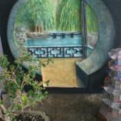 moon gate with bonsai