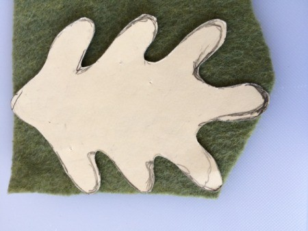 oak leaf template stuck to felt