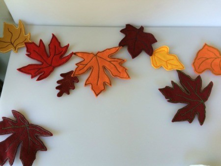 arranging leaves on table