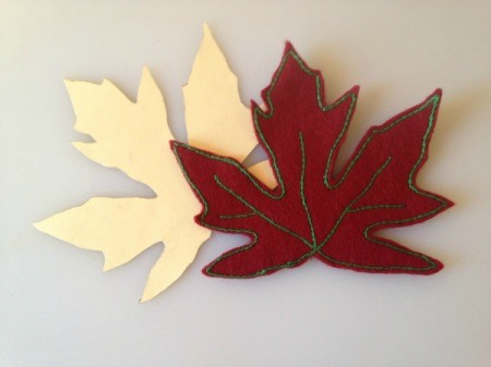maple leaf template and completed leaf