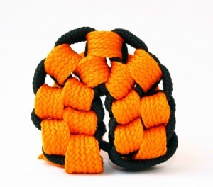 black and orange macrame