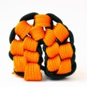 black and orange macrame